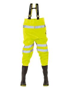 Ollyskins 2668 Hi-Viz yellow Safety PVC Chest Waders UK10 Wathose