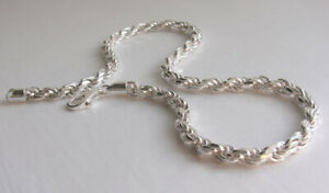 """Italian Solid Sterling Silver Diamond Cut Rope Chain - Width 6mm, 16"""" to 30"""""""