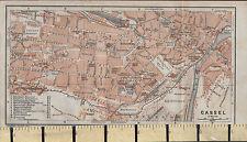 1925 GERMAN MAP ~ CASSEL CITY PLAN ENVIRONS PUBLIC BUILDINGS HOSPITAL CHURCHES