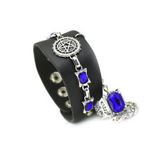 Anime Black Butler Sebastian Pu Leather Bracelet Wristband + Ring Jewelry