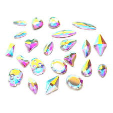 "30pcs Flatbacks No-Hotfix Rhinestones CRYSTAL AB ""Pick Your Shape"" for Nail Art"