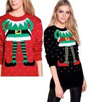 Womens Ladies Xmas Elf Body Snowflake Jumpers Sweater Top Christmas Evening Warm