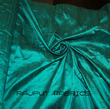 100% Natural Silk Dupioni Fabric Dark Turquoise Blue Gypsy Teal BY THE YARD