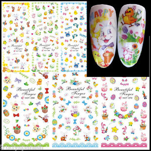 Easter Nail Art Water Decals Stickers Bunny Rabbits Chicks Bows Lace Gel Polish