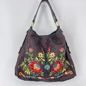 Isabella Fiore Purse Black Leather Embroidered Floral Shoulder Bag Pebbled Tote
