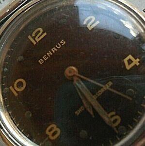 Vintage All S/S Men's 1950's Benrus Dark Brown Dial Shockabsorber Watch 4 REPAIR