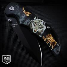 Black WOLF Spring Assisted Pocket Knife Wolves Wilderness Epic 3D ART Graphics