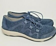 Dansko Holland Sneaker Shoe Athletic Blue Fabric Leather Upper Bungee Laces 36