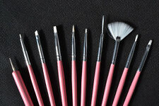 lot de 10 pinceaux Nail Art brush acrylic manucure gel uv set Drawing Brush Pen