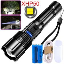 350000LM P50 Powerful LED Flashlight COB Rechargeable 5 Modes Torch XHP50 Light