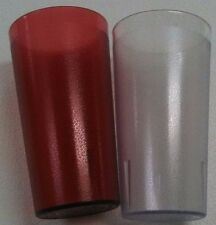 1 Dozen 5 Ounce Restaurant RED or CLEAR - PLASTIC Pebbled Tumbler Cup Glass