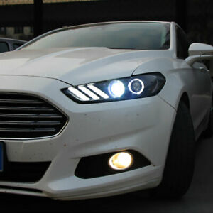 2Pcs HID Headlight Assemblies For Ford Fusion 2013-2016 LED Dynamic Turn signal