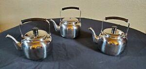 Lot Of Three Korean Single Serve Teapots, Stainless Steel Single Serve Lidded