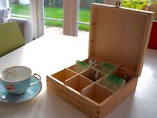 Wooden Tea Box Chest with Compartments Dividers and Clasp Storage Craft