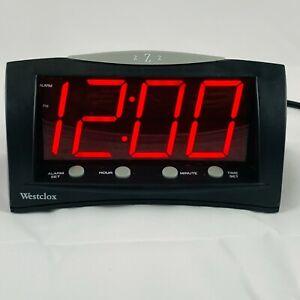 "Westclox Large Font Red 1.8""LED Digital Alarm Clock Snooze Battery Back Up 66705"