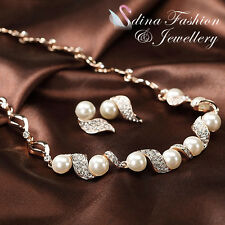 18K Rose Gold Plated Simulated Pearl & Diamond Twisted Elegant Evening Set