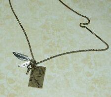 Steampunk vintage bronze I love you postcard, feather & key pendant necklace