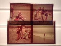 Lot of 4 Vintage 1940s Family at Beach Color Photographs Medium Transparencies