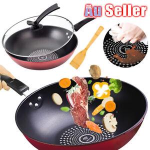 32cm Coat Kitchen Cookware Induction Stir Fry Non Stick Wok Pan Lid Stone ACB#