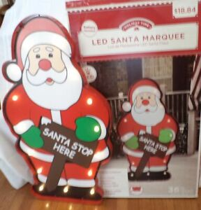 """Holiday Time LED 36"""" Marquee Santa Sign   Battery Operated Christmas Décor"""