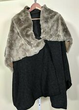 Avant Toi Poncho Cape Rabbit Fur Collar  Warrior Hunter Shawl One Size Italy