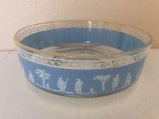 """Jeanette Glass VTG Blue Hellenic Jasperware Serving Bowl 9"""""""
