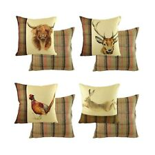 """4 X EVANS LICHFIELD HIGHLAND PHEASANT STAG HARE COW PAINTED ANIMALS CUSHIONS 17"""""""