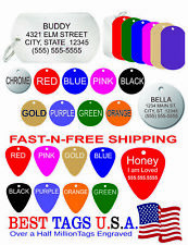 50 Custom Engraved Pet Id Tags Dog Cat Tag Animal Rescue-Best Price-Made in Usa!