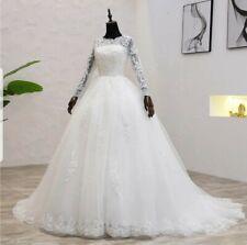 UK Plus Size Light Ivory Long  Sleeve Lace A Line Wedding Dresses Size 6-22