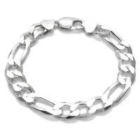 925 Sterling Silver Solid Figaro Link Chain Men's Bracelet 10mm (300 Gauge)