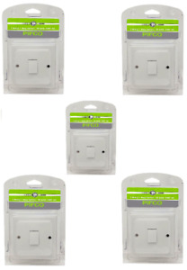 5 x White Plastic 1 Way 1 Gang Switch Electrical 10A 230V With Fixing Screw
