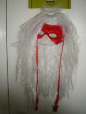 RED VAMPIRE Mask with attached LONG WHITE HAIR WIG W/ RED BRAIDS COSTUME Devil