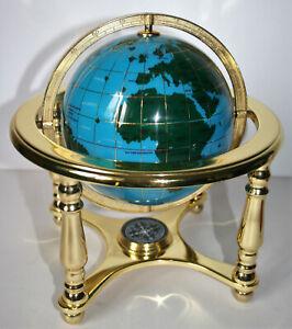 """Vintage Gemstone Globe by Osborne & Allen Blue Oceans Golden Stand, Compass 10"""""""