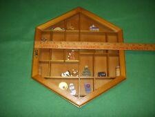 Wood Curio Display Cabinet Shadow Box Wall Unit Hinged Glass Door
