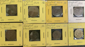 England 1909 - 1941 1/2 P, Farthing & 3 P Collection  Nice & *No Reserve!