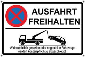 Schild AUSFAHRT FREIHALTEN Aufkleber - Parken Parkverbot Hinweisschild schwarz