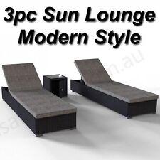 Sun Lounge Outdoor Furniture 3pc Set Black PE Wicker Rattan Grey Cushions Pool