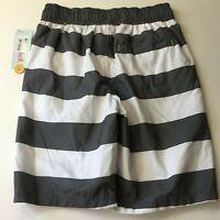 Cat & Jack Boys' Swim Trunks Grey & White Stripe - Size M 8-10