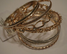 Gold & Silver tone bangle bracelets - 9 bracelets mix & match