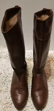 """L. L. Bean Womens Brown 13"""" High Slip on Soft Leather Boots Size 9M"""