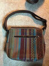 709dbaefdf FOSSIL Brown Geo Boho Striped Textile Leather Shoulder Bag Satchel Handbag  Purse