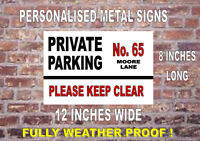 NEW! NO PARKING PERSONALISED LARGE METAL SIGN... PERFECT FOR PARKING PROBLEMS..