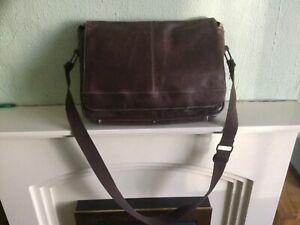 Men's Kenneth Cole reaction brown leather briefcase work school laptop bag