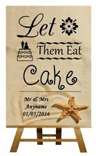 Beach Sand Let Them Eat Cake Personalised Wedding Sign / Poster