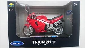 WELLY '02 TRIUMPH SPRINT ST 1:18 DIE CAST MODEL NEW IN BOX LICENSED MOTORCYCLE