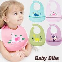 2 Pcs Cartoon Kids Silicone Baby Bibs Adjustable Waterproof Feeding Saliva Towel