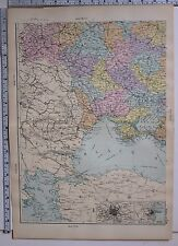 1891 ANTIQUE MAP ~ RUSSIA SOUTH WEST ODESSA MOSCOW KHERSON PODOLIA KOURSK