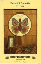 "Honey Bee Piecing Applique Sewing Pattern # H10 ""Beautiful Butterfly"" 14"" Hoop"