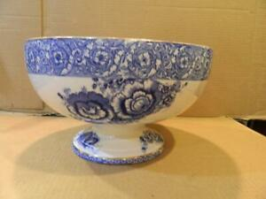 Cereal Impressive Pottery Floral BOWL Blue Antique Victorian 19th Century Dish Oval English Serving