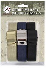 SALE:  Web Belt 3-Pack THREE Cut-To-Fit Khaki, Navy & Black ROTHCO 44170
